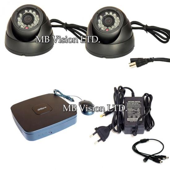 Комплект видеонаблюдение с ДВР и 2 вандалоустойчиви камери