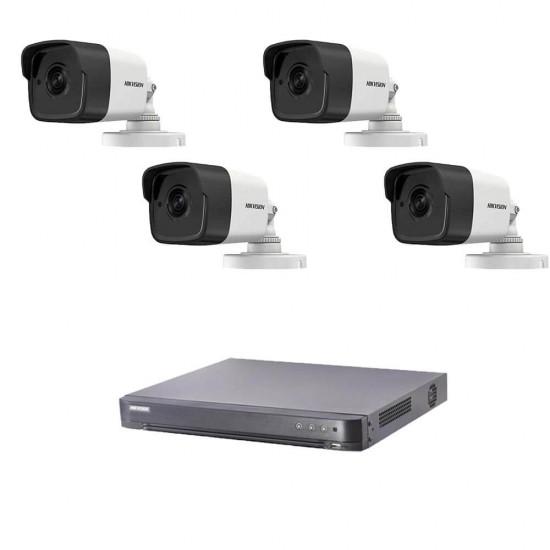 5MP комплект за наблюдение Hikvision с 4 камери, DVR