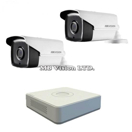 Готов комплект с 2 Full HD камери за наблюдение, нощен режим до 80м и 4-канален Turbo HD DVR Hikvision