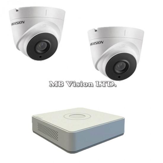 Готов комплект с 2 Full HD куполни камери за наблюдение, нощен режим до 40м и 4-канален Turbo HD DVR Hikvision
