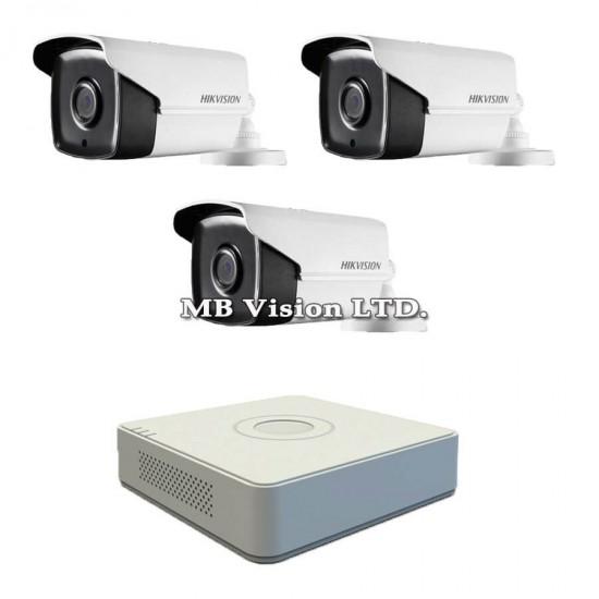 Готов комплект с 3 Full HD камери за наблюдение, нощен режим до 80м и 4-канален Turbo HD DVR Hikvision