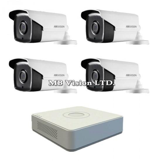 Готов комплект с 4 Full HD камери за наблюдение, нощен режим до 80м и 4-канален Turbo HD DVR Hikvision