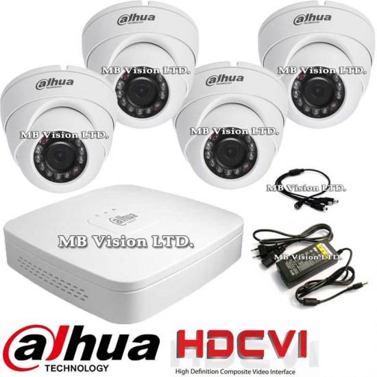 HDCVI система за видеонаблюдение с 4 HD вътрешни + DVR