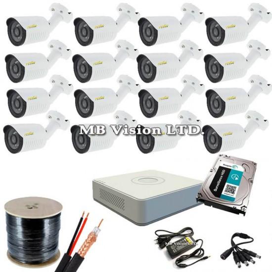 Готов, промо комплект HD видеонаблюдение с 16 HD камери, рекордер, хард диск, кабел и всичко нужно