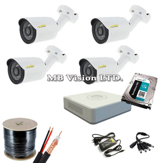 Комплект видеонаблюдение с 4 камери, DVR, хард диск, кабел и всичко нужно