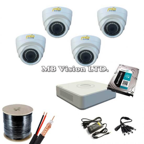 Готов, промо комплект видеонаблюдение с 4 камери вътрешен монтаж, рекордер, хард диск, кабел и всичко нужно