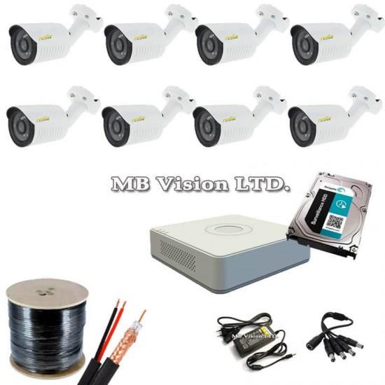 Готов, промо комплект видеонаблюдение с 8 HD камери, рекордер, хард диск, кабел и всичко нужно