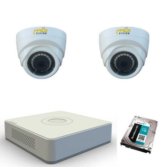 HD комплект 2 вътрешни HD камери, IR 20м и DVR и 1TB HDD