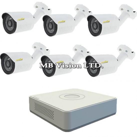 HD комплект за видеонаблюдение с 6 външни HD охранителни камери, нощен режим 30м