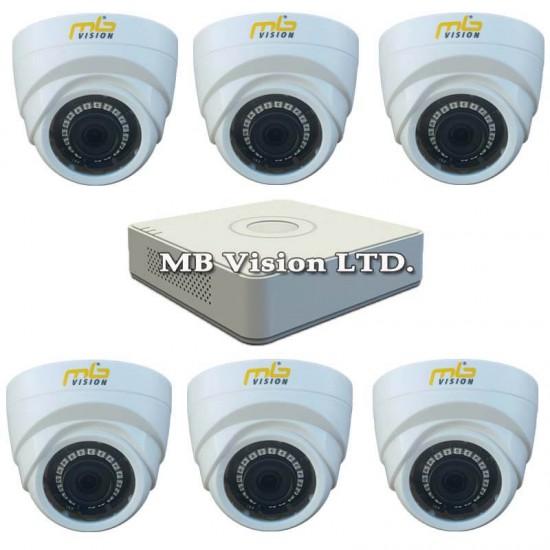 HD комплект за видеонаблюдение с 6 вътрешни HD охранителни камери, нощен режим 20м и DVR рекордер