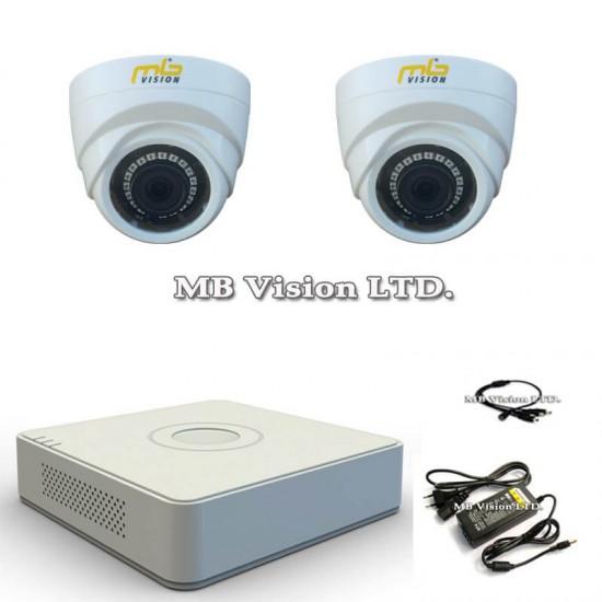 HD комплект за видеонаблюдение с 2 вътрешни HD охранителни камери, нощен режим 20м и DVR рекордер