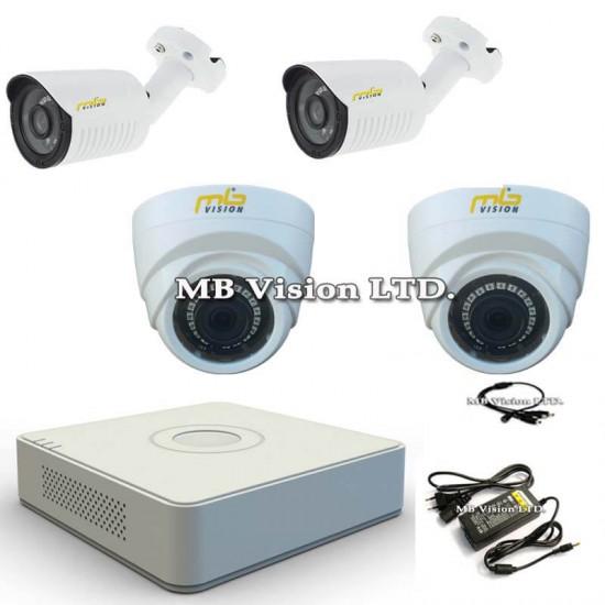 HD комплект с 2 външни и 2 вътрешни охранителни камери, нощен режим до 20 метра и DVR рекордер