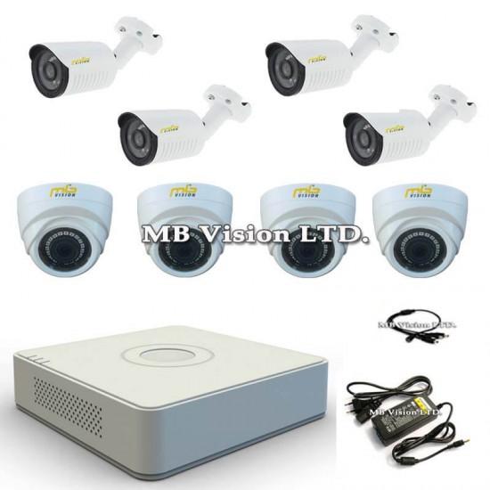HD комплект с 4 външни и 4 вътрешни охранителни камери, нощен режим до 20 метра и DVR рекордер