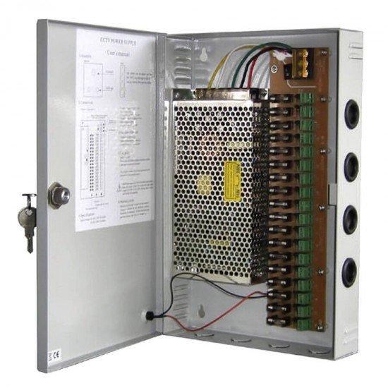 Захранващ блок 12VDC/10A за видеонаблюдение в метална кутия VNPWRBOX1012